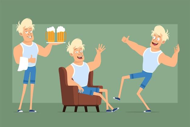 Cartone animato piatto divertente personaggio sportivo biondo forte in maglietta e pantaloncini. ragazzo che riposa, balla e trasporta boccali di birra. pronto per l'animazione. isolato su sfondo verde. impostato.