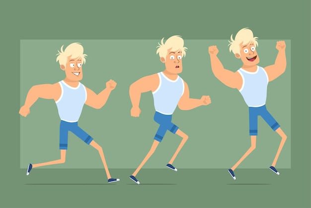 Cartone animato piatto divertente personaggio sportivo biondo forte in maglietta e pantaloncini. ragazzo che corre veloce in avanti e salta in piedi. pronto per l'animazione. isolato su sfondo verde. impostato.