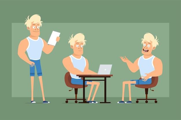 Cartone animato piatto divertente personaggio sprotsman biondo forte in maglietta e pantaloncini. ragazzo che lavora al computer portatile e che legge la nota di carta. pronto per l'animazione. isolato su sfondo verde. impostato.