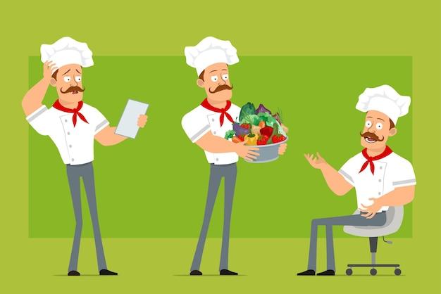 Cartoon piatto divertente chef forte cuoco uomo carattere in uniforme bianca e cappello da panettiere ragazzo che legge la nota e che tiene la pentola con le verdure.