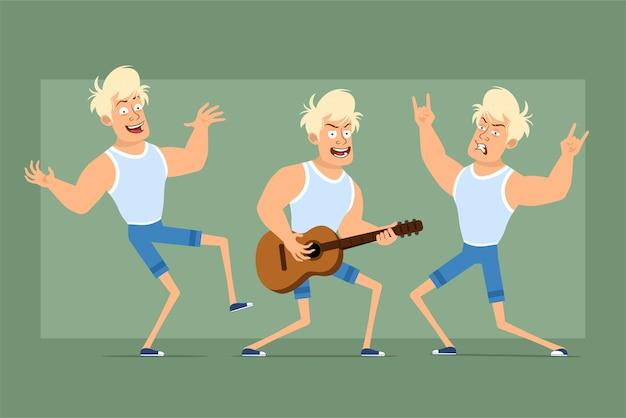Carattere sportivo forte piatto divertente del fumetto in maglietta e pantaloncini. ragazzo che balla, suona la chitarra e mostra il segno del rock and roll. pronto per l'animazione. isolato su sfondo verde. impostato.