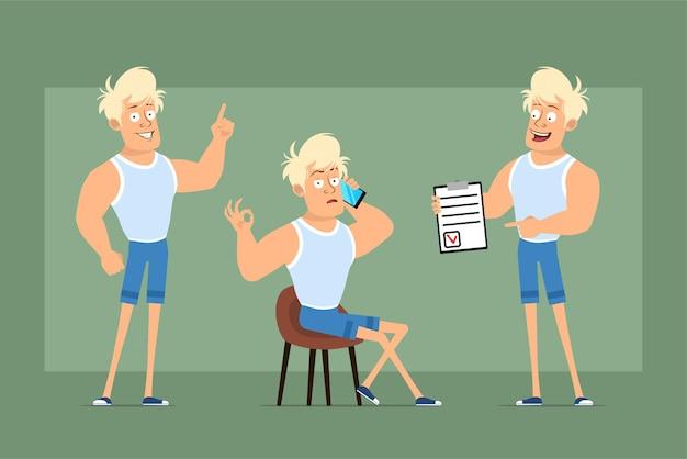 Carattere sportivo forte piatto divertente del fumetto in maglietta e pantaloncini. ragazzo che parla sul telefono, mostrando per fare la lista e il segno di attenzione. pronto per l'animazione. isolato su sfondo verde. impostato.