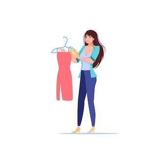 Personaggio dei cartoni animati ragazza piatta tenere vestito con sconto per lo shopping
