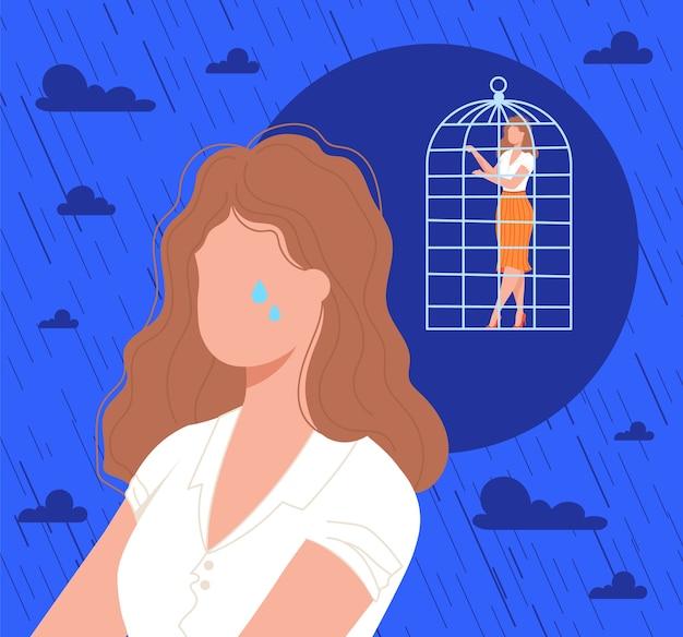 Personaggio femminile frustrato triste solitario piatto del fumetto piangere