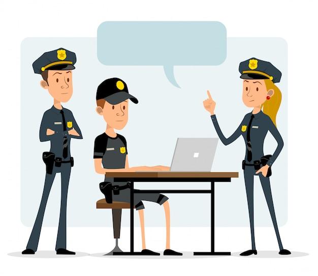 Personaggi divertenti di poliziotti piatti del fumetto
