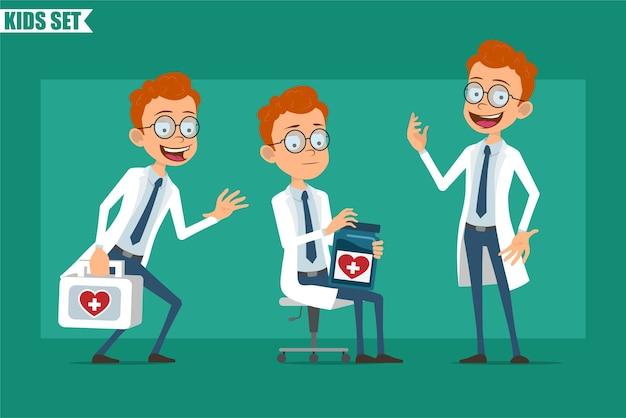 Cartoon redhead piatto piccolo medico o scienziato ragazzo personaggio in uniforme. pronto per l'animazione. kid portando kit di pronto soccorso e tenendo il barattolo medico con farmaci. isolato