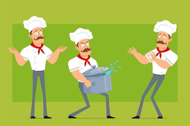 Cartoon piatto forte chef cuoco uomo carattere in uniforme bianca e cappello da panettiere. ragazzo che trasportano stufato pentola con acqua e mostrando il segnale di stop.