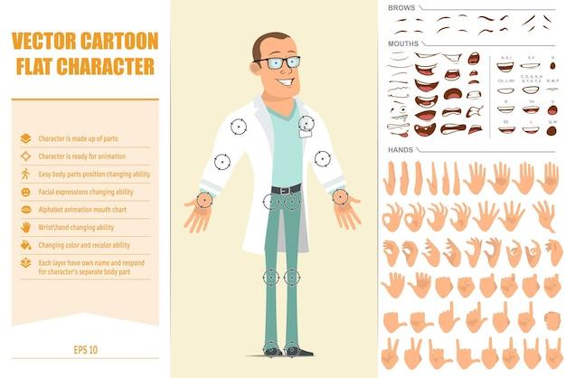 Carattere di uomo medico piatto forte del fumetto in uniforme bianca e occhiali. pronto per le animazioni. espressioni del viso, occhi, sopracciglia, bocca e mani facili da modificare. isolato su sfondo giallo.
