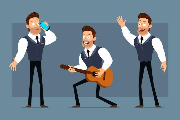 Carattere di uomo d'affari muscoloso piatto forte del fumetto con cravatta nera. pronto per l'animazione. ragazzo che suona una chitarra, parlando al telefono e mostrando segno di ciao. isolato su sfondo grigio. grande set di icone.