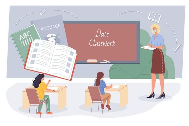 Insegnante e alunni piatti del fumetto, personaggi degli studenti studiano la lingua in classe