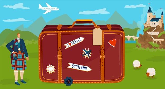 Cartone animato piatto minuscolo personaggio scozzese tradizionale kilt
