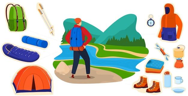 Cartoon piatto turista escursionista zaino in spalla carattere escursionismo