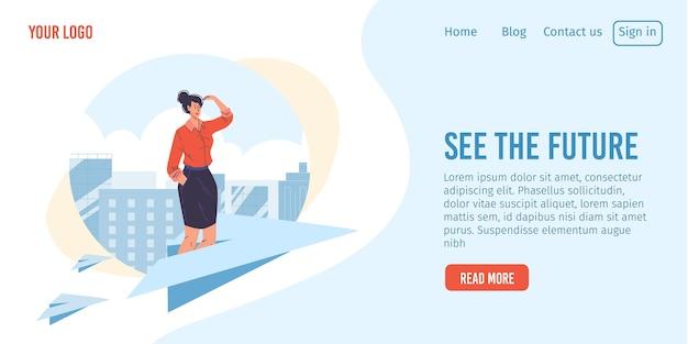 Personaggio dei cartoni animati di donna piatta in piedi sull'aereo di carta volante