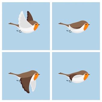 Strato di sprite di animazione dell'uccello di robin volante del fumetto.