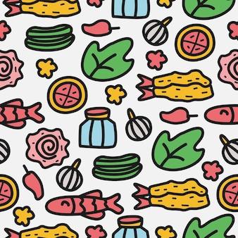 Cartone animato cibo doodle seamless pattern