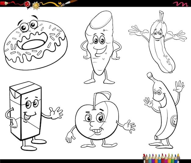 Cartone animato cibo oggetti set di caratteri libro da colorare pagina