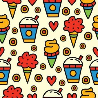 Seamless pattern di cibo dei cartoni animati