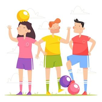 Gruppo di giocatori di calcio dei cartoni animati