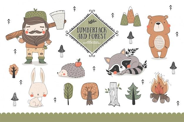 Animali della foresta del fumetto e collezione di personaggi divertenti del boscaiolo.