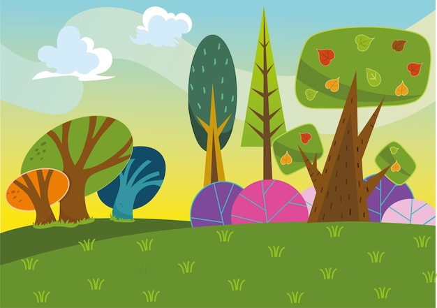 Cartone animato sfondo foresta illustrazione vettoriale