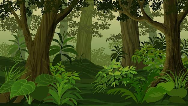 Cartoon paesaggio forestale al tramonto