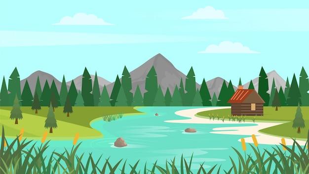 Paesaggio della foresta del fumetto con montagne, fiume e abeti. sfondo paesaggio tramonto o alba.
