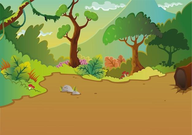 Panorama della scena della foresta dei cartoni animati