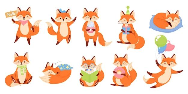 Mascotte della volpe del fumetto. divertente personaggio animale, simpatiche volpi rosse con zampe nere.