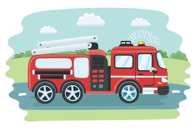 Cartoon amichevole carino sorridente rosso camion dei pompieri illustrazione vettoriale