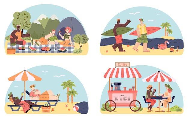 Amici dei cartoni animati in vacanza insieme di persone che svolgono attività divertenti insieme