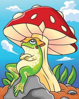 La rana del fumetto è rilassante su un fungo su uno sfondo di cielo blu