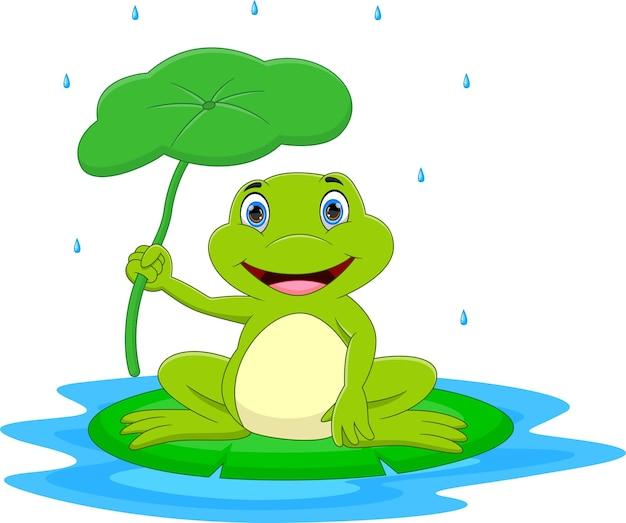 Rifugio per rana cartone animato con foglie sotto la pioggia