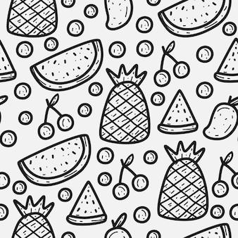 Modello di doodle di frutta del fumetto