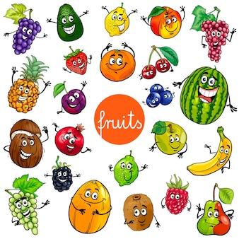 Collezione di personaggi di frutta dei cartoni animati