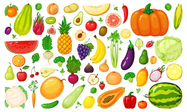 Insieme dei broccoli di frutta e verdura dei cartoni animati