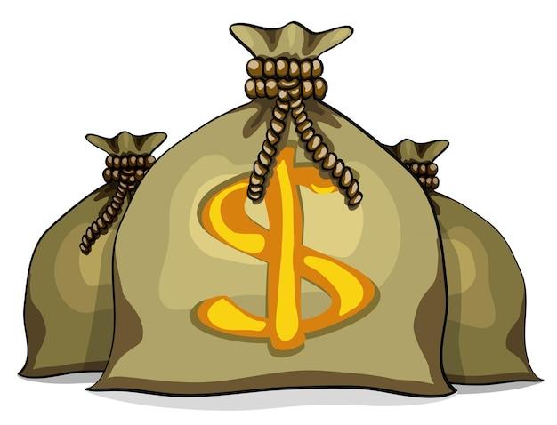 Sacchi pieni di cartoni animati con soldi. illustrazione vettoriale isolato su sfondo bianco