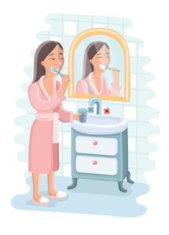 Cartoon divertente carino illustrazione della donna che pulisce i suoi denti con la spazzola