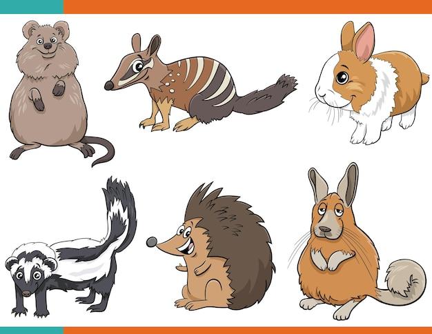 Set di personaggi comici animali divertenti del fumetto