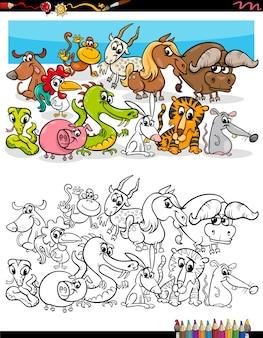 Pagina del libro da colorare di gruppo di animali divertenti del fumetto