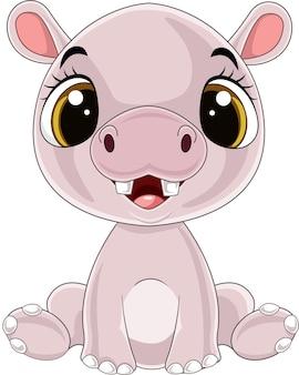 Cartone animato divertente bambino ippopotamo seduto