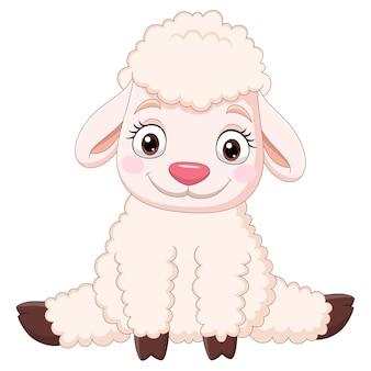 Seduta divertente delle pecore del bambino del fumetto