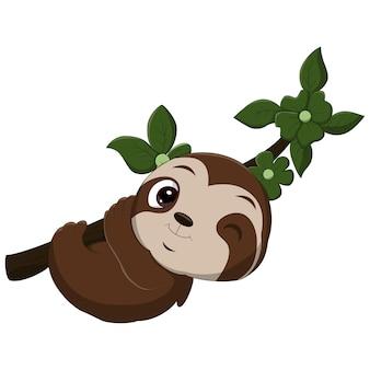 Bradipo bambino divertente cartone animato appeso al ramo di un albero