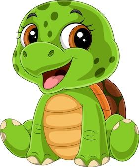 Cartone animato divertente cucciolo di tartaruga seduto