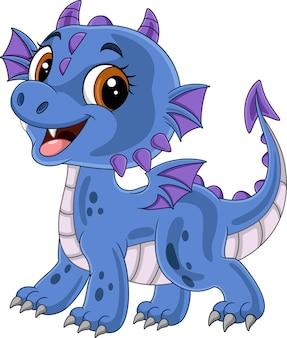 Cartone animato divertente drago blu in posa