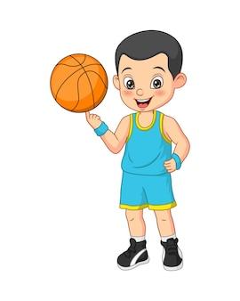 Giocatore di pallacanestro del ragazzo divertente del fumetto