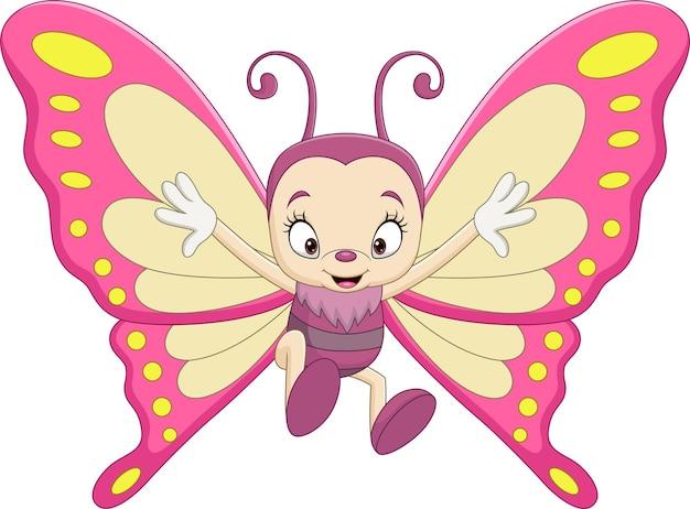 Farfalla divertente del fumetto su bianco