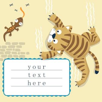 Cartone animato di divertente gatto e lucertola nel muro
