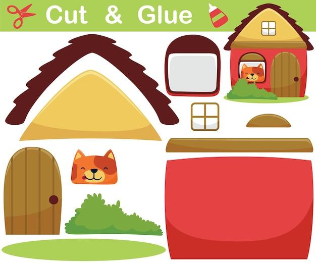 Cartone animato di gatto divertente nella finestra della piccola casa. gioco cartaceo educativo per bambini. ritaglio e incollaggio