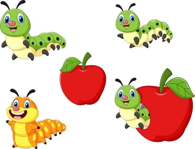 Cartone animato divertente set di raccolta caterpillar