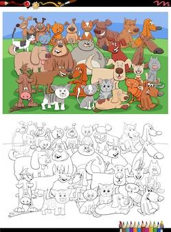 Pagina divertente del libro da colorare del gruppo di cani e gatti del fumetto